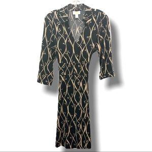 TALBOTS FAUX WRAP DRESS BLACK & CREAM PRINT SZ 14P